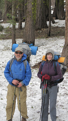 Robin, who came along for a test drive of his equipment before tackling part of the PCT this summer, and M, looking cold. This is at the Beehive.©http://backpackthesierra.com