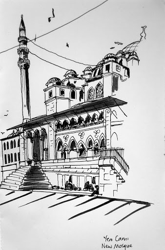 Marker sketch of Yeni Cami (New Mosque), Istanbul, October 2012. Artist Lisa Hsia