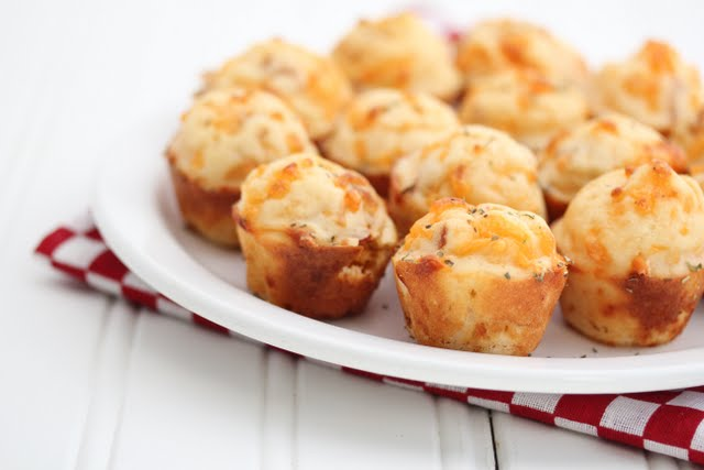 Pepperoni Pizza Puffs on a white plate
