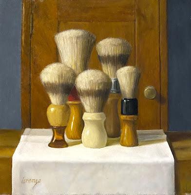 shaving brushes, vintage barber, original art