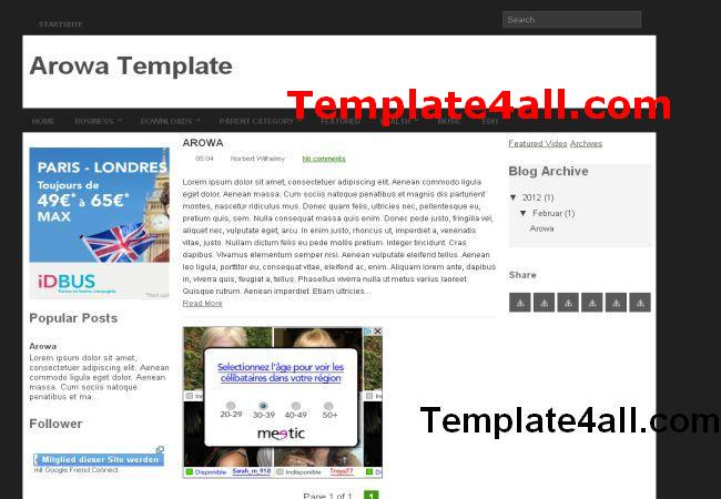 Black White Blogger Template Layout