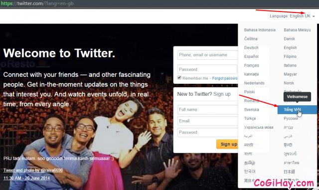 Vào trang đăng ký twitter
