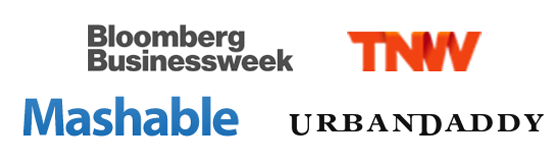 Logos of Bloomberg, Mashable, The Next Web, and UrbanDaddy