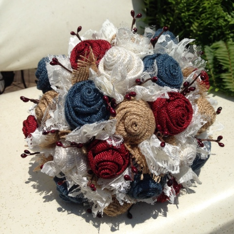 rustic Americana burlap and lace wedding flowers