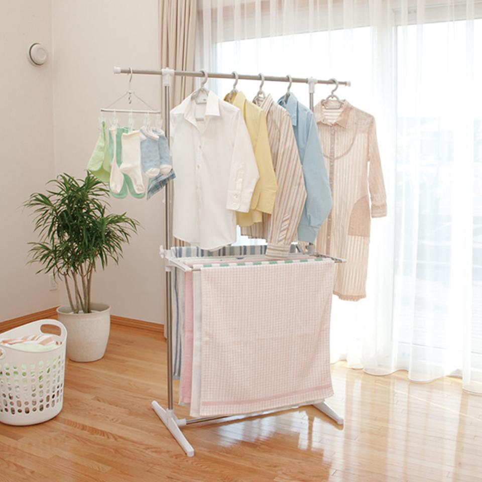 naso大合購【小太陽】雙層多功能曬衣架(室內外皆可用)