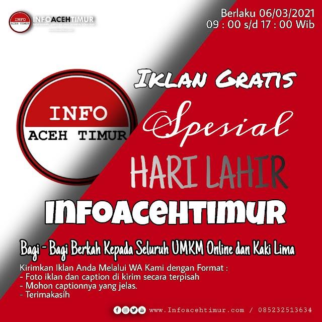 Iklan Gratis #Infoacehtimur_Official