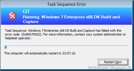 Task Sequence error code (0x80070002)