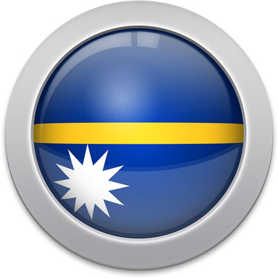 Nauruan flag icon with a silver frame