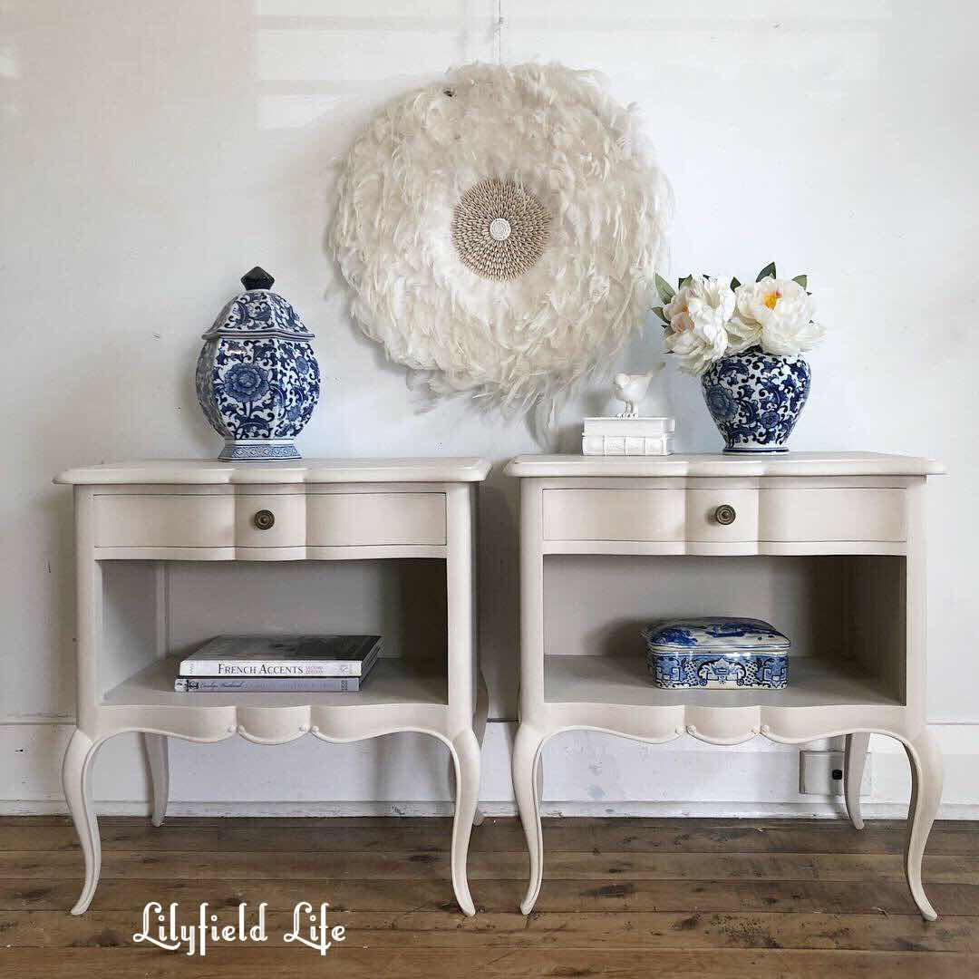 white hand painted vintage bedroom furniture - lilyfield life bedside tables