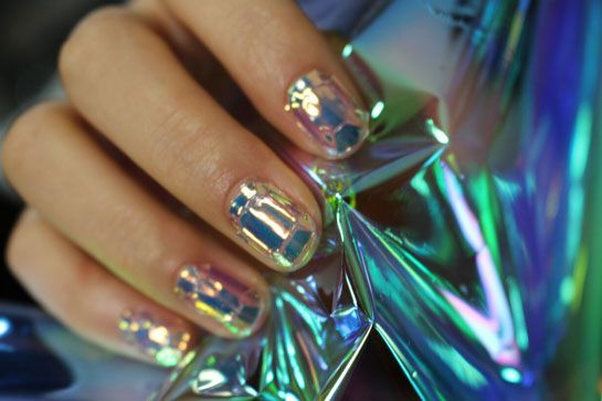 Hot Shattered Glass Nail Manicure Examples Styles Art