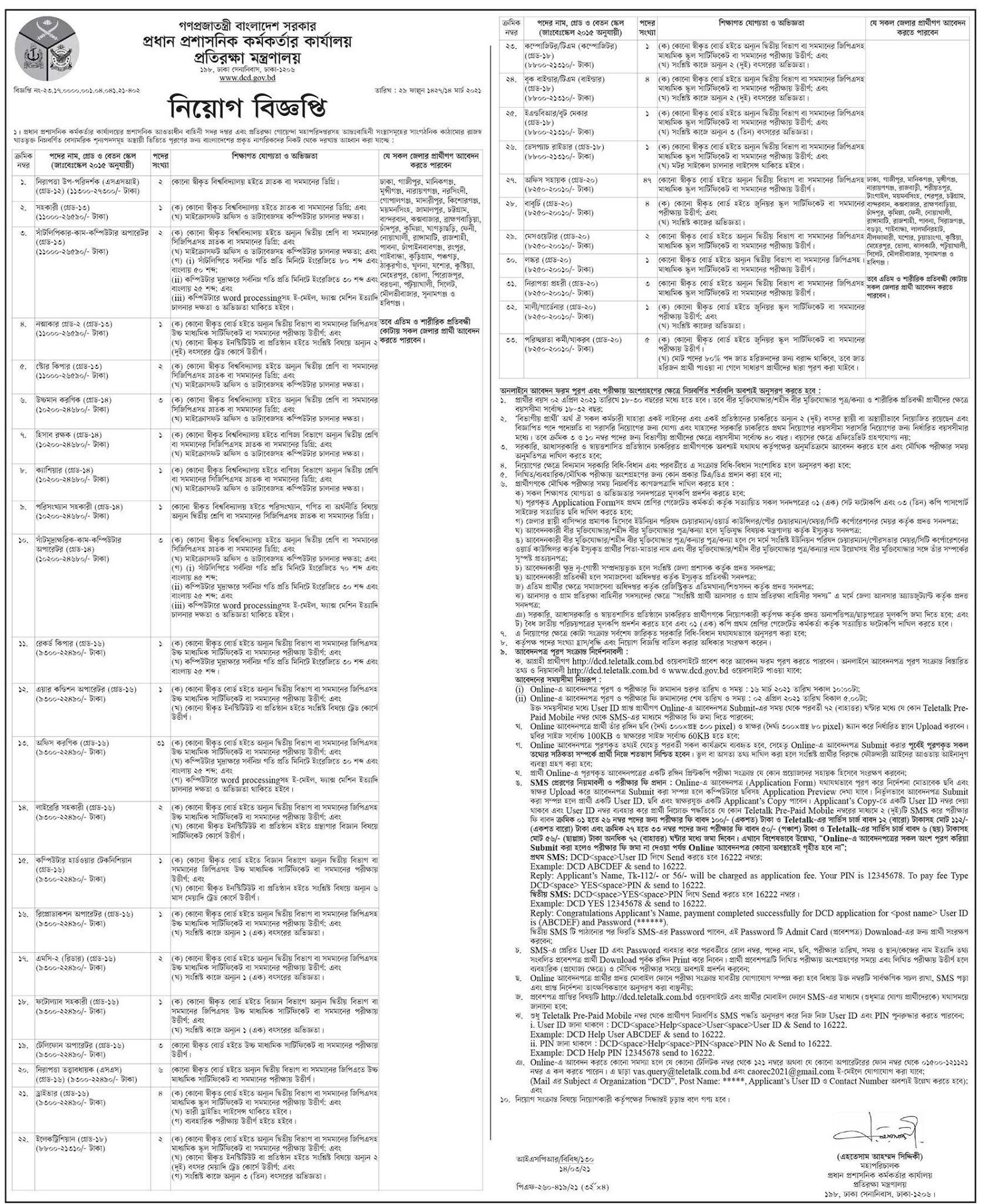 Ministry of Defence (MOD) Job Circular 2021 - প্রতিরক্ষা মন্ত্রণালয় চাকরির বিজ্ঞপ্তি ২০২১ - সরকারি চাকরির খবর ২০২১