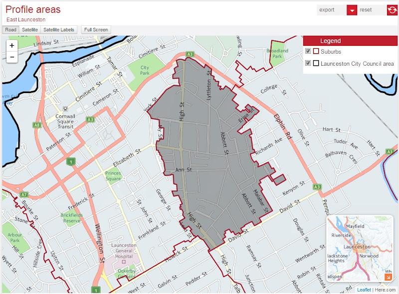 East Launceston suburb boundaries