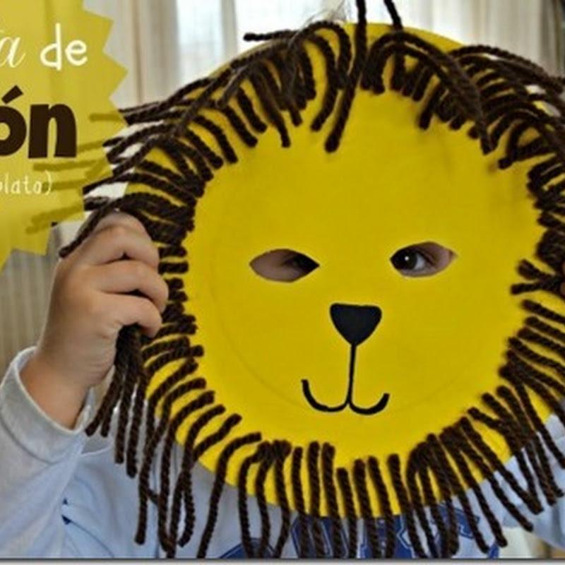 Manualidades máscara de león con plato
