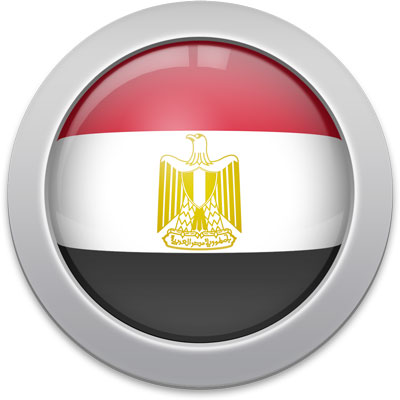 Egyptian flag icon with a silver frame