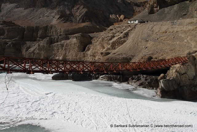Bridge over the frozen Zanskar river