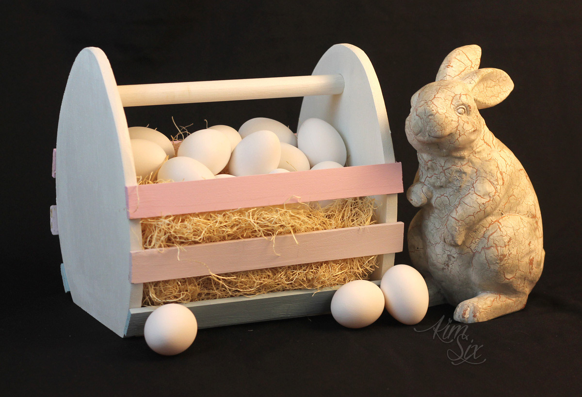Wooden easter egg basket