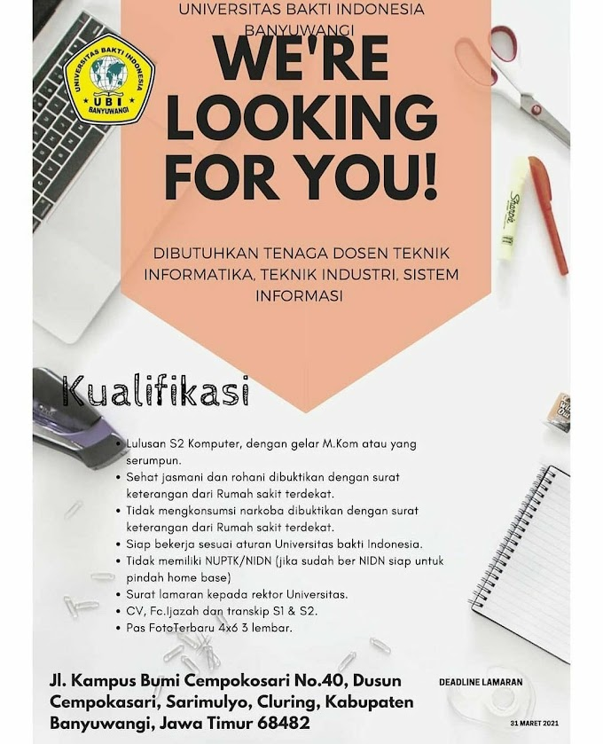 Lowongan Kerja Dosen Teknik Informatika, Teknik Industri, Sistem Informasi