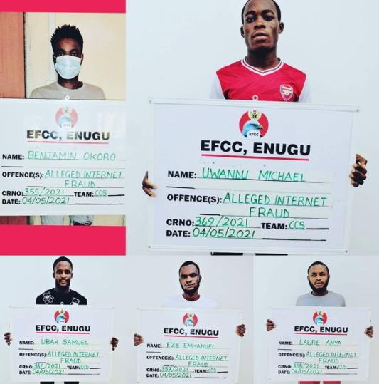 EFCC Arrests Seven Suspected Internet Fraudsters In Enugu (Photos)