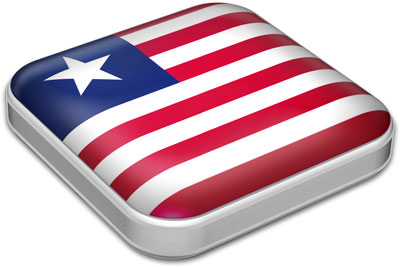 Flag of Liberia with metallic square frame