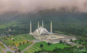 Arial view of Faisal Mosque Islamabad