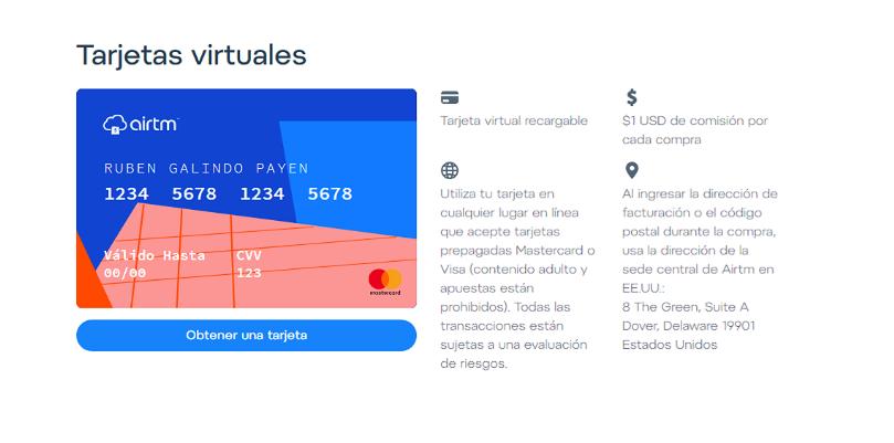 Los datos de facturación a usar para tu tarjeta Virtual Airtm aparecerán siempre a un lado de la imagen de la tarjeta dentro de tu cuenta Airtm.