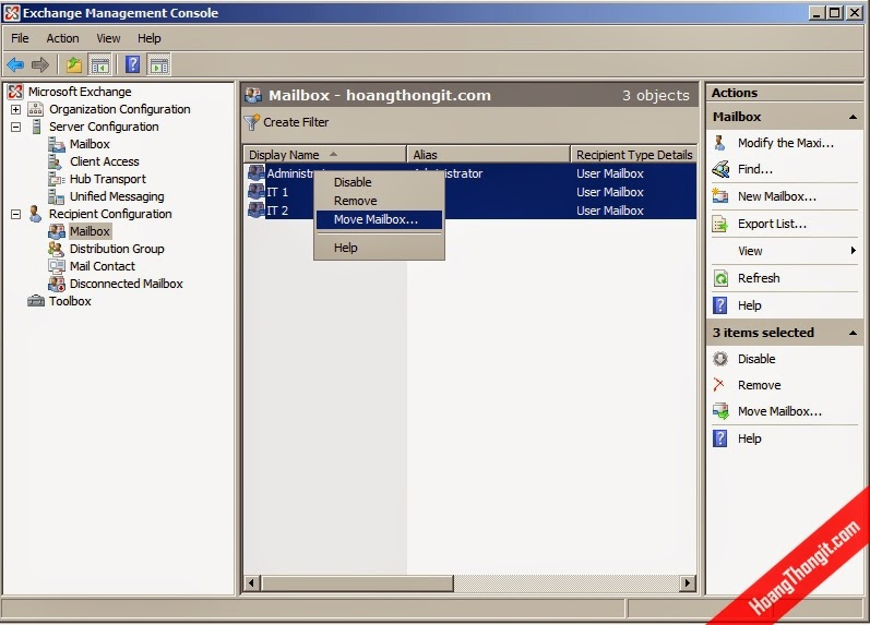 Đổi database cho mailbox trên Mail Exchange Server 2007
