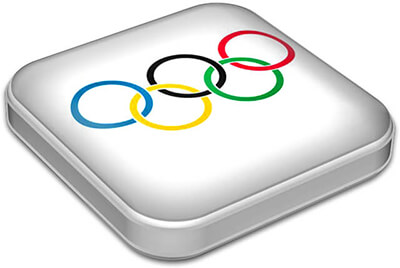 Flag of Olympic Games with metallic square frame