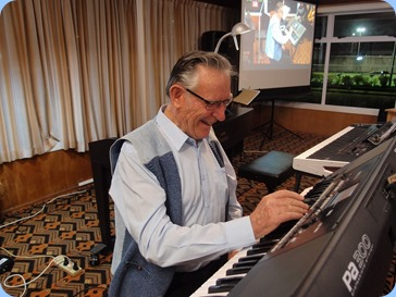 Roy Steen playing his Korg Pa300.  Photo courtesy of Dennis Lyons.
