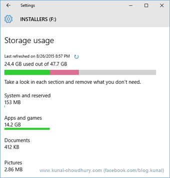 Windows 10 Storage Usage 2 (www.kunal-chowdhury.com)