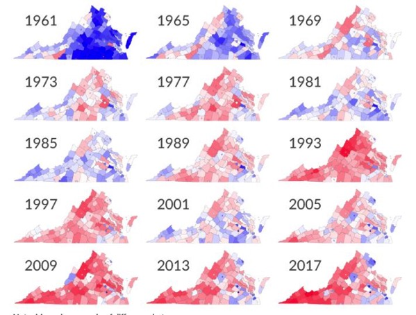 Virginia gubernatorial results from 1961 to 2017
