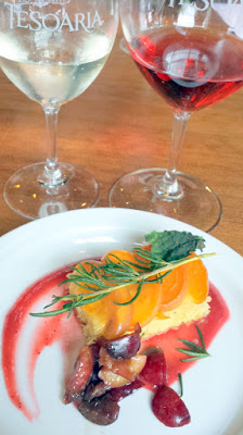TeSóAria Vegan Brunch 4th course Rosemary Shortcake with Apricot Jam, Apricots, Fried Rosemary paired with 2015 Bella Rosa Secco and 2015 Sparkling Moscato