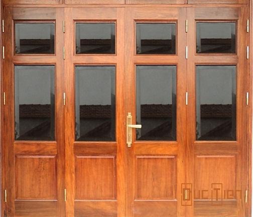 Cửa kính gỗ 4 cánh, mẫu cửa gỗ kính 4 cánh