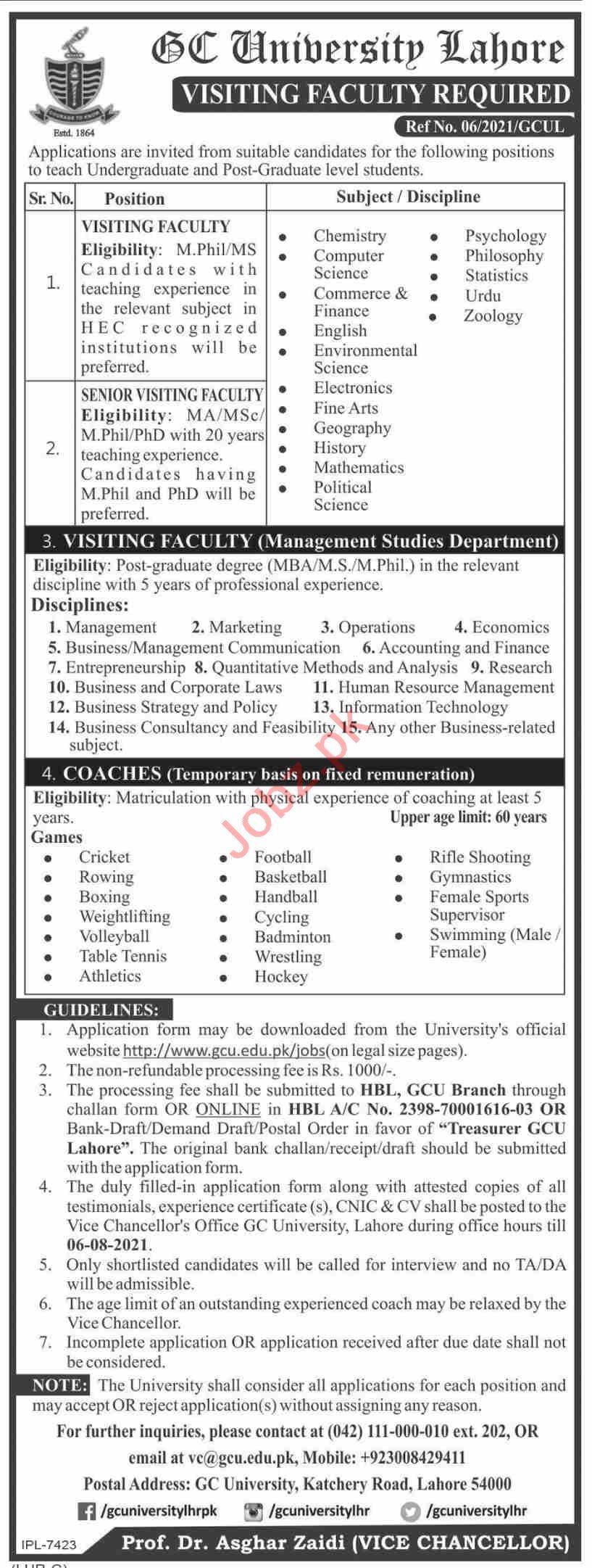 GC University  Jobs 2021 From All Pakistan
