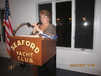 Joan Edmonds, the club secretary, ready to give her annual report.
