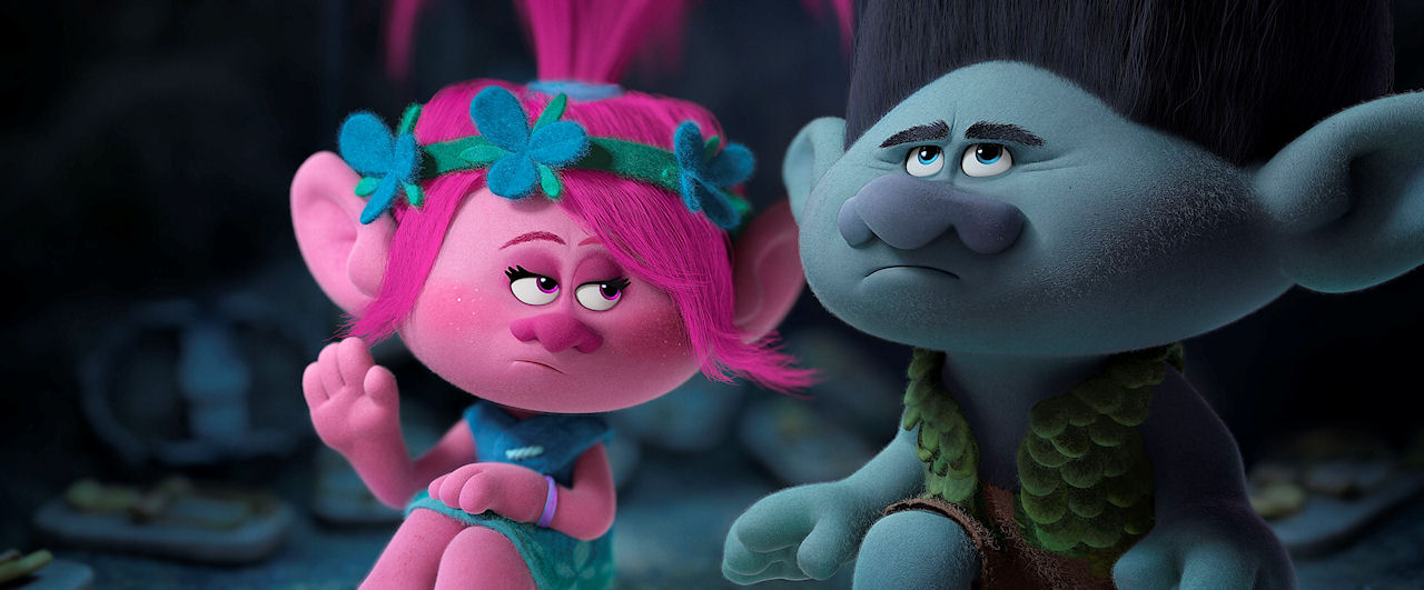 From left: Poppy (voiced by Anna Kendrick) and Branch (Justin Timberlake) in  DreamWorks Animation's TROLLS. (Photo courtesy of DreamWorks Animation)
