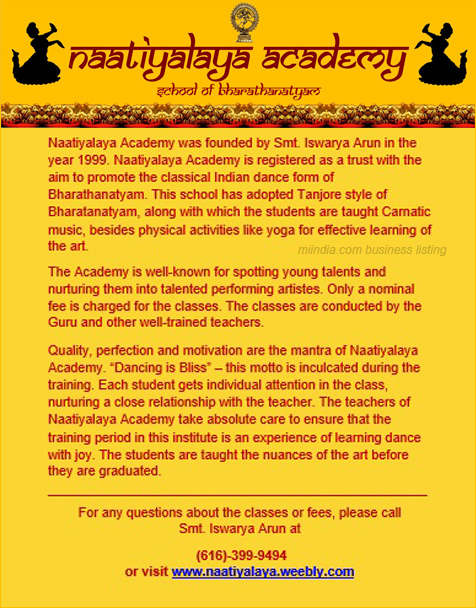 Tanjore style of Bharathanatyam Classes in Detroit