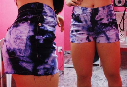 Customização de short jeans com tie dye