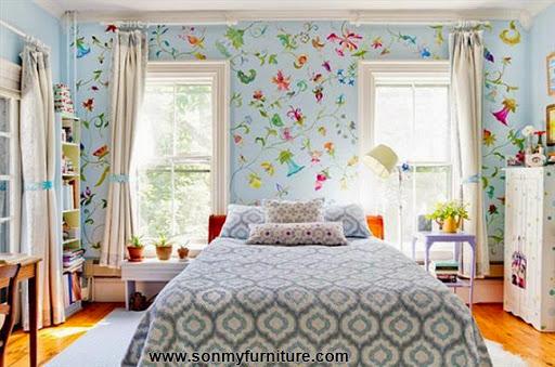 Rộn ràng hoa lá trong phòng ngủ mùa xuân hè_nội thất phòng ngủ-11