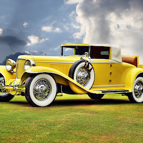 This is a Cord not a Ford by JEFFREY LORBER - Transportation Automobiles ( cord, jeffrey lorber, rust 'n chrome, vintage car, yellow car, yellow, classic car, antique car, lorberphoto,  )