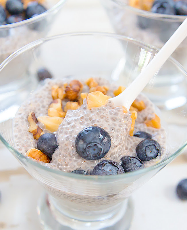 close-up photo of blueberry chia pudding