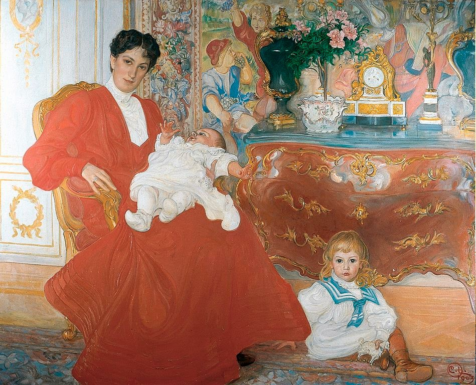 Carl Larsson - Mrs Dora Lamm and Her Two Eldest Sons (1903)