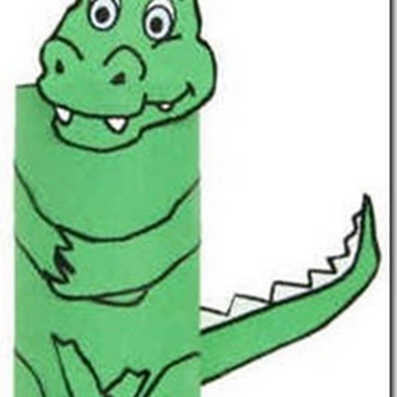 Hacer un cocodrilo con un tubo de papel higiénico