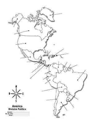 Mapa de América con división política sin nombres