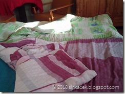 Zatuchnuté deky se starým propoceným povlečením