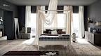 camera da letto con letto a baldacchino, in legno massello laccato bianco, collezione La Casa Moderna