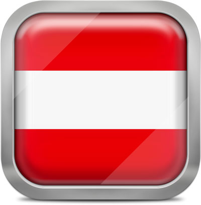 Austria square flag with metallic frame