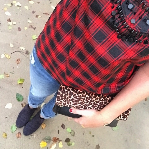 how to pattern mix, outfit, leopard, plaid