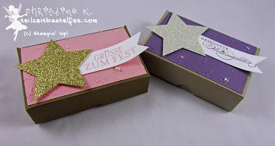 Stampin' Up! Weihnachten, Christmas, Pizza Box, Stars, Sterne, Banner, Wunderbare Weihnachtsgrüße, Bright&Beautiful, Zauber der Weihnacht