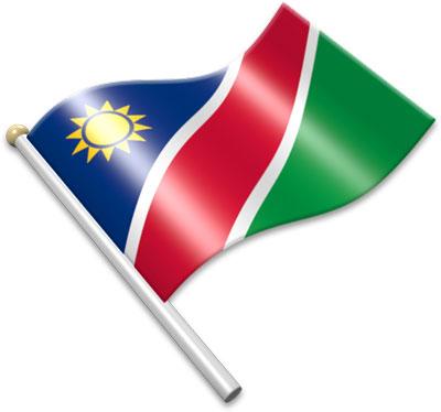 The Namibian flag on a flagpole clipart image