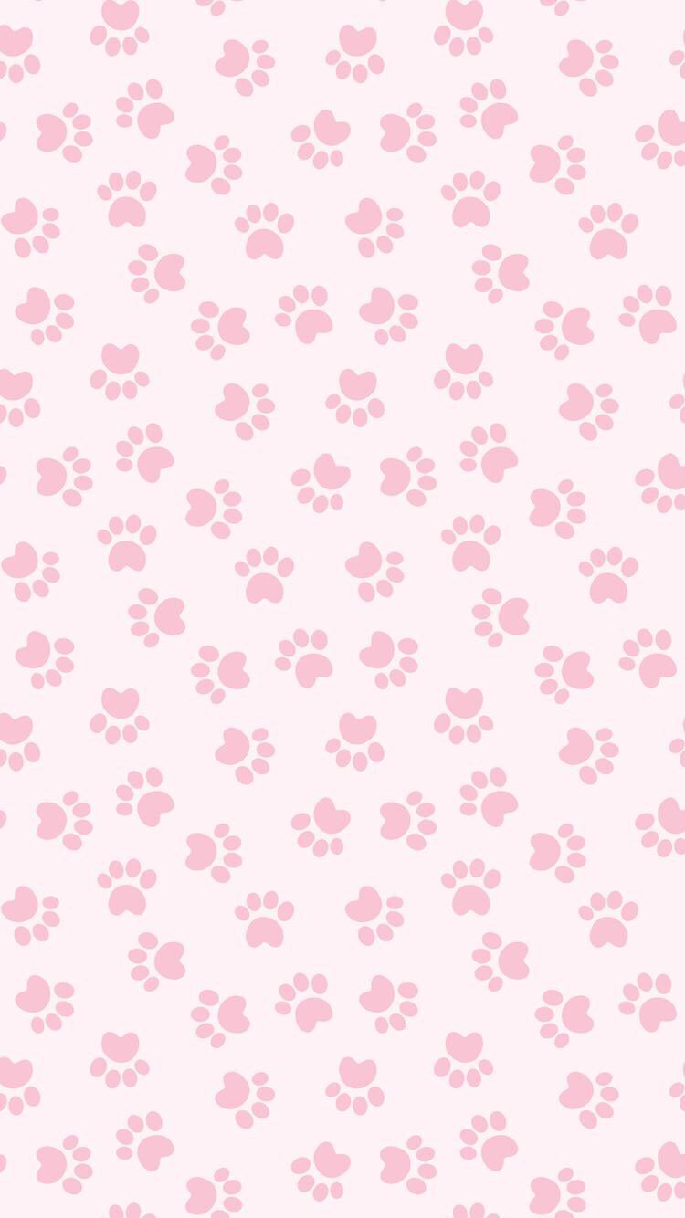 Pink Paw Print Wallpaper for iPhone
